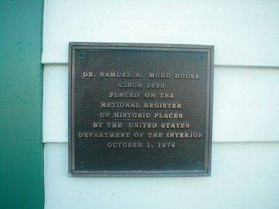 Dr. Samuel A. Mudd House Marker image. Click for full size.