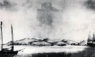 Yerba Buena (San Francisco) and the Golden Gate from Yerba Buena Island in 1837 by Violet image. Click for full size.