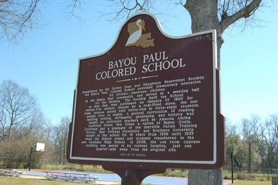 Bayou Paul Colored School Marker image. Click for full size.
