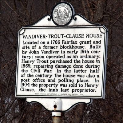 Vandiver - Trout - Clause House Marker image. Click for full size.