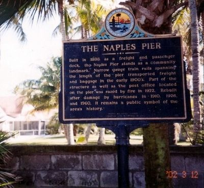 The Naples Pier Marker image. Click for full size.