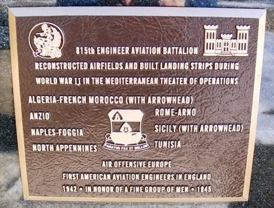 815th Engineer Aviation Battalion Marker image. Click for full size.