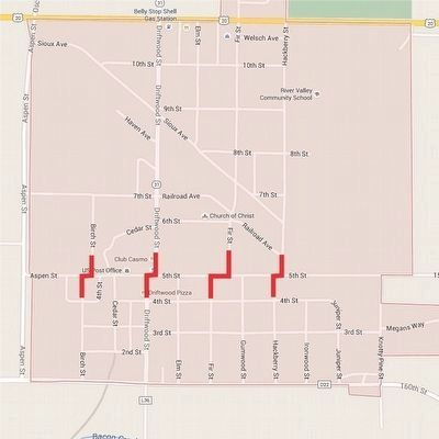"Correctionville Map Showing the 5th Street ""Jogs"" image. Click for full size."