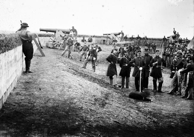 Members of the 3rd Massachusetts Heavy Artillery inside Fort Totten, 1865 image. Click for full size.