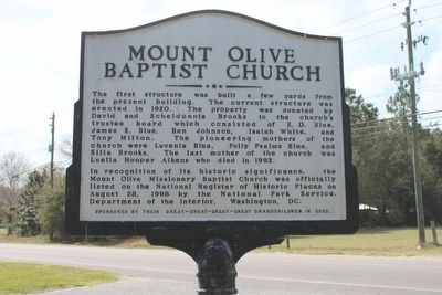 Mount Olive Baptist Church Marker Side 2 image. Click for full size.