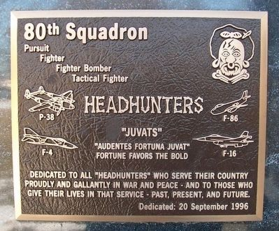 80th Squadron Headhunters Marker image. Click for full size.