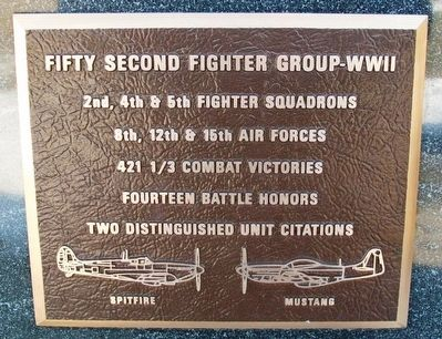 Fifty Second Fighter Group - WWII Marker image. Click for full size.