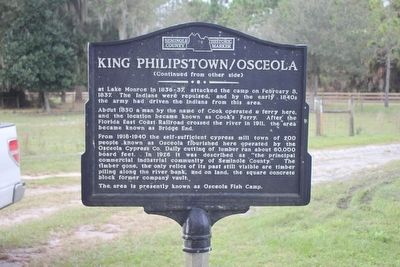 King Phillipstown/Osceola Marker-Side 2 image. Click for full size.