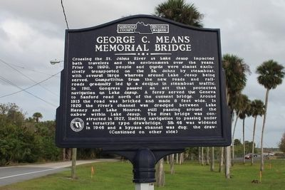 George C. Means Memorial Bridge Marker-Side 1 image. Click for full size.