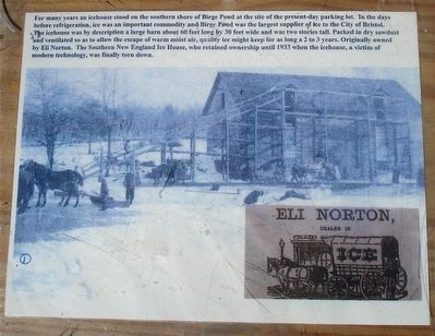 The Southern New England Ice House on Birge Pond Marker image. Click for full size.