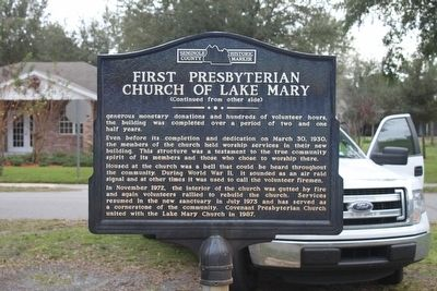 First Presbyterian Church of Lake Mary Marker-Side 2 image. Click for full size.