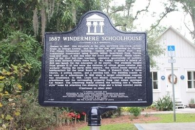 1887 Windermere Schoolhouse Marker-Side 1 image. Click for full size.