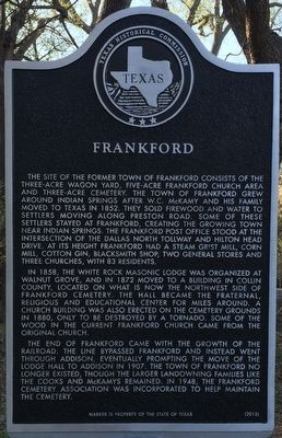 Frankford Texas Historical Marker image. Click for full size.