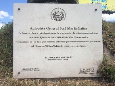 General Jos� Mar�a Ca�as Highway Marker image. Click for full size.