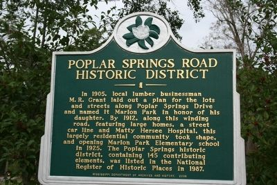 Poplar Springs Road Historic District Marker image. Click for full size.