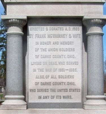 Darke County Civil War Monument (south side) image. Click for full size.