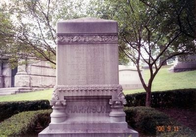 Benjamin Harrison Marker-distant shot of tombstone image. Click for full size.