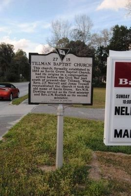 Tillman Baptist Church Marker (Front) image. Click for full size.