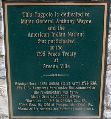 Anthony Wayne Flag Pole Marker image. Click for full size.