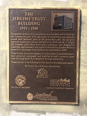 The Jergins Trust Building Marker image. Click for full size.