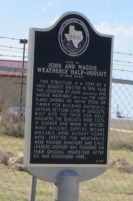 Site of John and Maggie Weatherly Half-Dugout Site Marker image. Click for full size.
