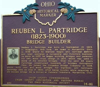 Reuben L. Partridge (1823- 1900) Bridge Builder Marker image. Click for full size.