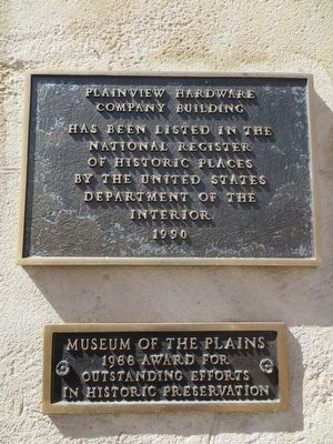 Plainview Hardware Company Building Marker image. Click for full size.