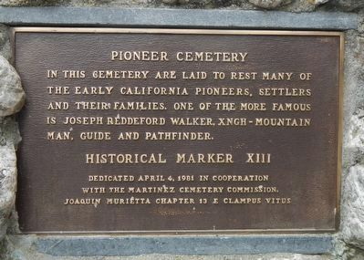 Pioneer Cemetery Marker image. Click for full size.