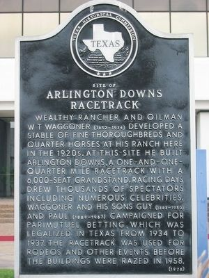 Site of Arlington Downs Racetrack Texas Historical Marker image. Click for full size.