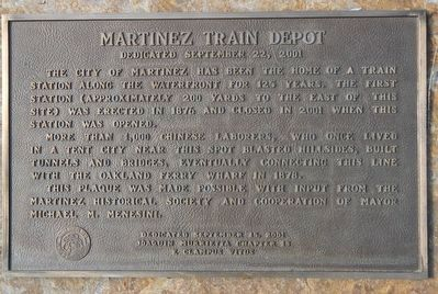 Martinez Train Depot Marker image. Click for full size.