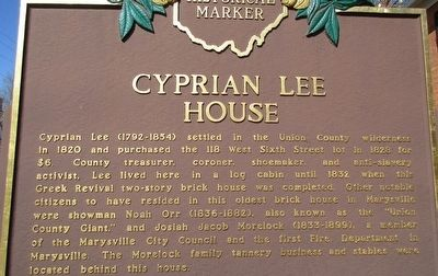 Cyprian Lee House Marker image. Click for full size.