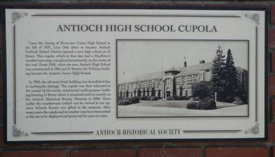 Antioch High School Cupola Marker image. Click for full size.