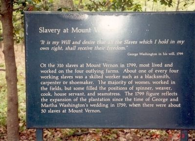 Slavery at Mount Vernon Marker image. Click for full size.