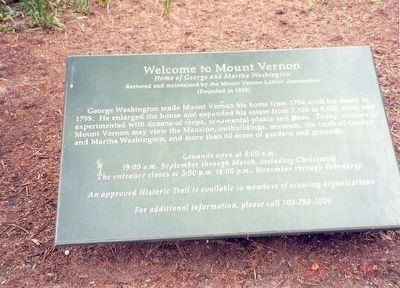 Welcome to Mount Vernon Marker image. Click for full size.