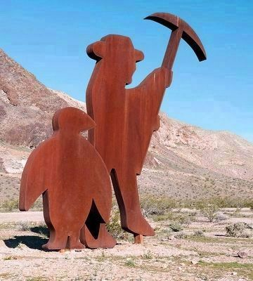 Sculpture of Shorty Harris and Penguin Near Rhyolite, Nevada image. Click for full size.