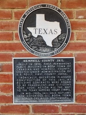 Hemphill County Jail Marker image. Click for full size.
