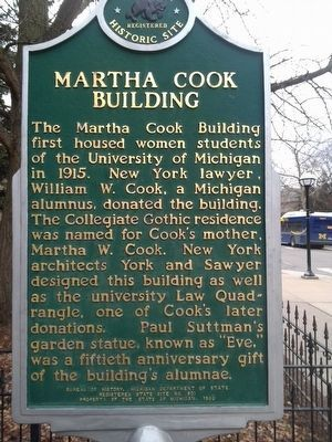 Martha Cook Building Marker image. Click for full size.