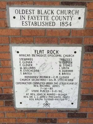 Flat Rock African Methodist Episcopal Church dedicatory markers image. Click for full size.