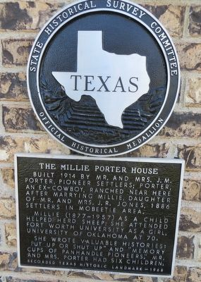 The Millie Porter House Marker image. Click for full size.