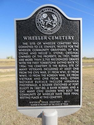 Wheeler Cemetery Marker image. Click for full size.