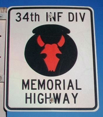 34th Infantry Division Memorial Highway Sign image. Click for full size.