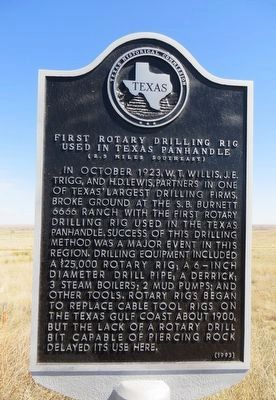 First Rotary Drilling Rig Used in Texas Panhandle Marker image. Click for full size.