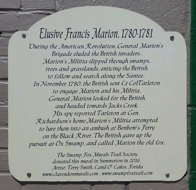 Elusive Francis Marion 1780-1781 Marker image. Click for full size.