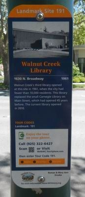 Walnut Creek Library Marker image. Click for full size.