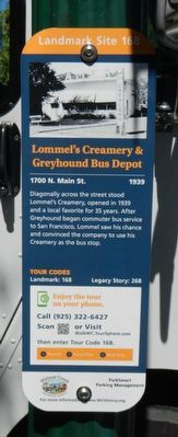 Lommel's Creamery & Greyhound Bus Depot Marker image. Click for full size.