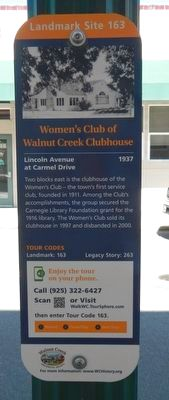 Women's Club of Walnut Creek Clubhouse Marker image. Click for full size.