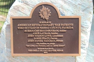 American Revolutionary War Patriots Who Settled in Nassau County, Florida Marker image. Click for full size.
