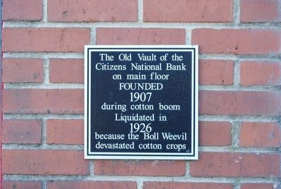 Old Vault of the Citizens National Bank Marker image. Click for full size.