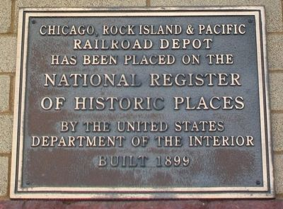 Chicago, Rock Island & Pacific Railroad Depot NRHP Marker image. Click for full size.