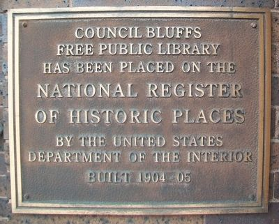 Council Bluffs Free Public Library NRHP Marker image. Click for full size.